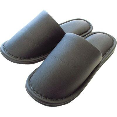 モノトーンつや消しビニールレザースリッパ 外縫い ブラック Lサイズ(1足)