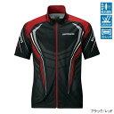 シマノ フルジップ プリントシャツ 半袖 ブラック/レッドXL