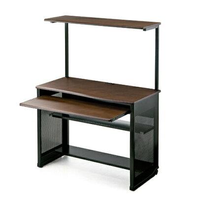 パソコンデスク ハイタイプ・木製天板・収納棚付・幅