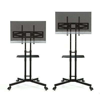 サンワダイレクト 大型テレビスタンド 32~65型対応 高さ無段階調整 棚板付 キャスター付 100-PL008