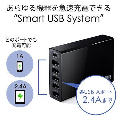 6ポートUSB充電器 Type Cポート搭載 急速充電 高出力10A 50W スマートフォン充電器