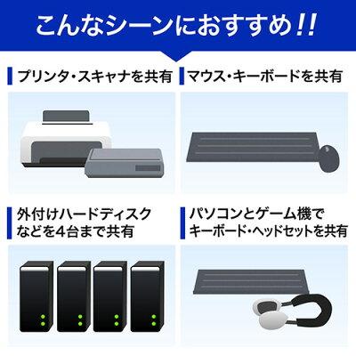 USB切替器 手動 パソコン4台・機器4台 USB2.0 プリンタ・外付けHDD・ワイヤレスキーボード・マウス対応の共有に最適 切替機 (400-SW023)