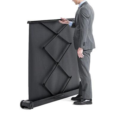 プロジェクタースクリーン 60インチ 簡単設置 自立・パンタグラフ式 持ち運び 床置き 移動ローラー付