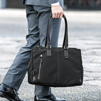 ビジネスバッグ トート メンズ 2WAY 豊岡縫製 国産素材鎧布使用 高強度ナイロン使用 ブラック
