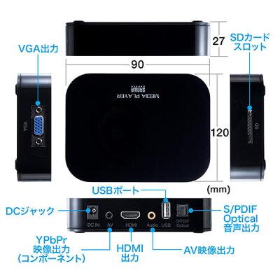 メディアプレーヤー SDカード USBメモリ 動 音楽 写真再生 HDMI VGA コンポジット コンポーネント出力 テレビ再生 400-MEDI022