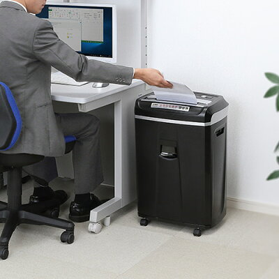 電動シュレッダー 業務用 60分連続使用 a4  同時細断 クロスカット cd dvd カード シュレッター 400-psd021 サンワダイレクト
