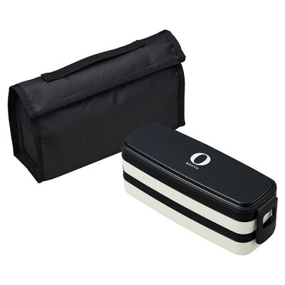 オーエスケー Black&White ブラック&ホワイト ブラック ランチボックス二段 バッグ付 850ml BLW-32HC