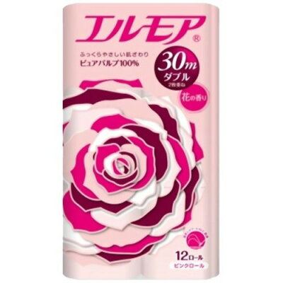 エルモア トイレットロール 花の香り ピンクダブル 2枚重ね30m(12ロール)