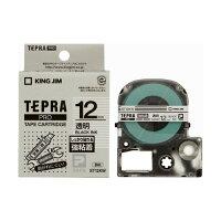 テプラ・プロ テープカートリッジ 強粘着透明ラベル 黒文字 12mm ST12KW(1コ入)