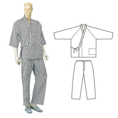 4971751405924 パジャマ型ねまき 紳 M 春夏 紺幾何柄 4971751405924