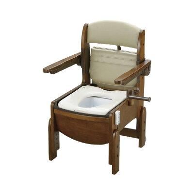 リッチェル 木製トイレ きらくコンパクト 肘掛跳上 脱臭機能 18630 普通便座