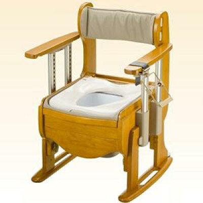 リッチェル 木製トイレ きらく座優 肘掛昇降 18700 エクスジェル便座