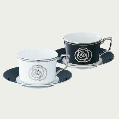 【ノリタケ】エイダン◇ティー・コーヒー碗皿ペアセットモノトーンのカラーリングが新しい!
