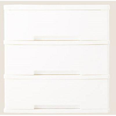 スタッキング式ワイドチェスト 3段 ホワイト(1台)