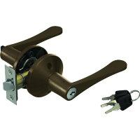 マツ六 7010171 リフォーム用レバーハンドル錠 鍵付個室用 アンバー