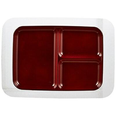 パール金属 K-6133 漆器彩 クリーンコート角型仕切皿 大 赤溜 K6133