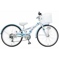 6段変速 24インチ クリシーフラワー ジュニア 自転車 ブルー 243636B ハンドル調整で完成!工具付き!