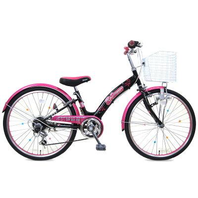 ブリアンナ (BRIANNA) ブラックピンク 24インチ シマノ6段変速 LEDブロックライト 子供用自転車 キッズサイクル