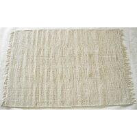 洗えます! シンプルな生成り色 敷く場所を選ばない綿マット 75x120cm agra 22098061607512000