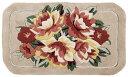 玄関マット ベージュベースの上品な花柄 ウール100% 45x75〓 FW-139 フック織り 1360912160450750300