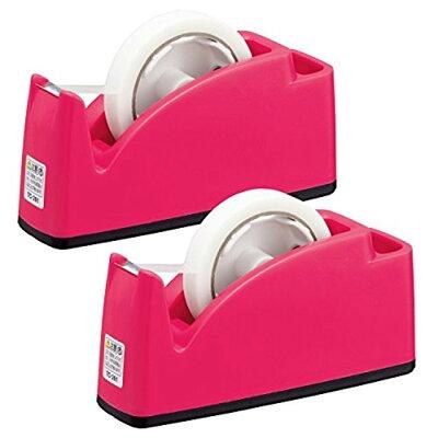 プラス テープカッター ペン立てポケット付き TC-201 ピンク 31-241×2