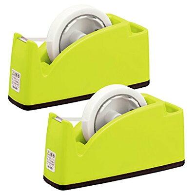 プラス テープカッター ペン立てポケット付き TC-201 ライトグリーン 31-242×2
