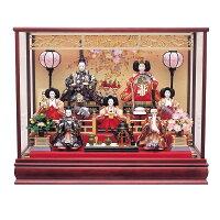 【雛人形】【ケース飾り】しだれ桜松竹梅欄間つきケース七人飾り(322794)