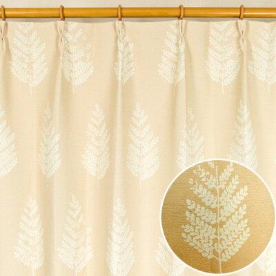 遮光カーテン/サンシェード 2枚組 100cm×135cm ベージュ木立柄 洗える 形状記憶 タッセル付き ルノー