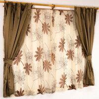 遮光カーテン&レースカーテン 4枚組 100cm×135cm ブラウンボタニカル リーフ柄 洗える バッグ タッセル付き プラム