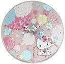 Hello Kitty 壁掛け時計 和柄ガラスクロック アナログ表示 置き掛け兼用製 ピンク HKY-5639-PKA