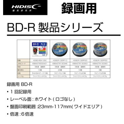 HIDISC 録画用BD-R ホワイトプリンタブル 1-6倍速  HDBDR130RP20