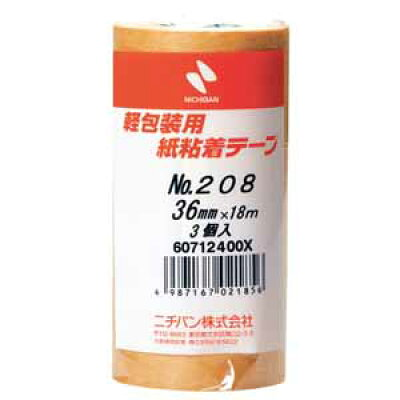 (ニチバン)紙粘着テープ 208-36 36mm×18m 3巻