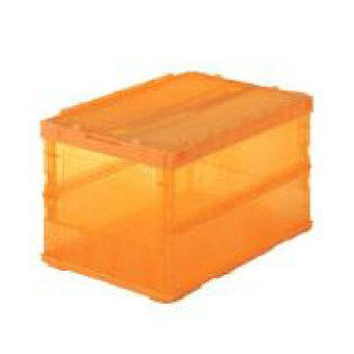 TRUSCO 薄型折りたたみコンテナスケル 50Lロックフタ付 オレンジ