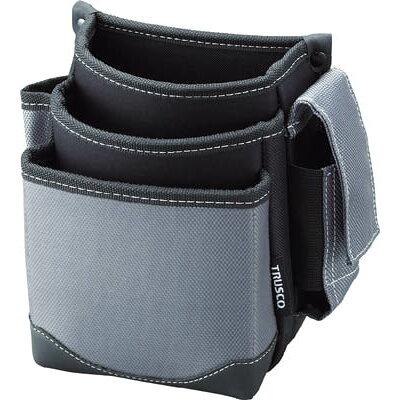 TRUSCO 腰袋 3段 携帯電話ホルダー付き グレー