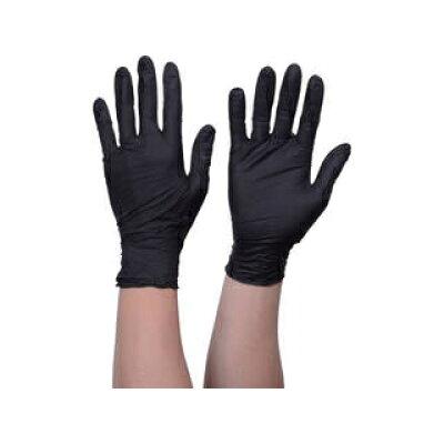 トラスコ 使い捨てニトリル手袋TGスタンダード 0.08粉無黒S 100枚 品番:TGNN08BKS