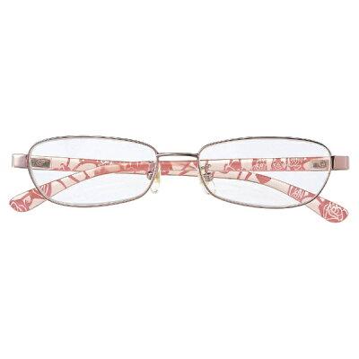 名古屋眼鏡 シニアグラス ライブラリー 4540 ピンクメタル 花柄転写プリント /+1.50