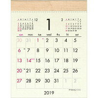 2019年 壁掛カレンダー1月始まり ウッディコットンSCK-14