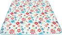Daikou キルトラグ 正方形 ブルー 花柄 滑り止め付き 洗濯機丸洗い 850472-80