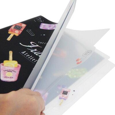 入学準備 ファイル ダイカット5インデックスa4クリアファイル フルーツアイス sweet pop カミオジャパン