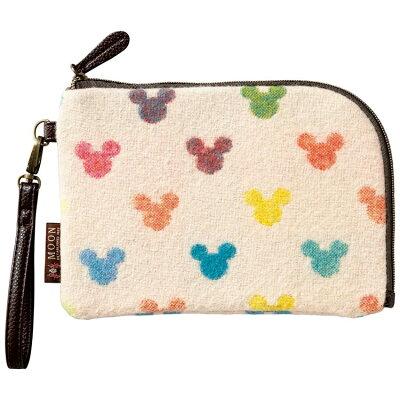 ミッキーマウス コスメポーチ 薄型ポーチ アースドット ディズニー 丸眞 カードケース 持ち手付き小物入れ