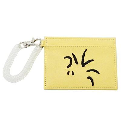 コイル ICカードケース 定期入れ スヌーピー ウッドストックフェイス 合皮刺繍 ピーナッツ マリモクラフト パスケース