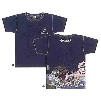 GODZILLA ゴジラ 富嶽三十六景 大怪獣桜之宴 抜染めTシャツ ゴジ桜 ネイビー
