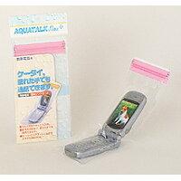 石崎資材 アクアトーク 携帯電話防水ソフトケース フレックスプラス レギュラー ピンク 『ケータイ。濡れた手でも通話できます。』 AQFP-01