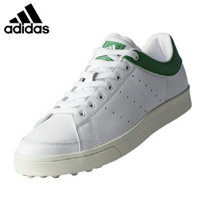 アディダス ゴルフ アディクロス クラシック ワイド F33781 ゴルフシューズ ホワイト×ホワイト×グリーン