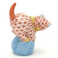 ヘレンドHerend 玉乗り猫ミニ キャット05221 金彩仕上げ 赤色の鱗模様VH ハンドメイド オブジェ