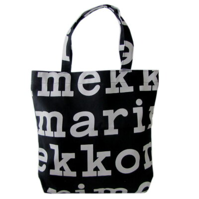 Marimekko バッグ トートバッグ Notko Logo ブラック×オフホワイト 47312 911