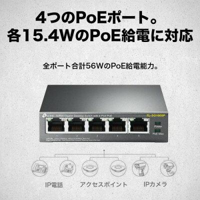 TP-LINK 5ポートPoEスイッチングハブ TL-SG1005P