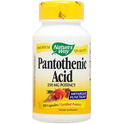 Nature's Way Pantothenic Acid, 100 Caps 250 mg