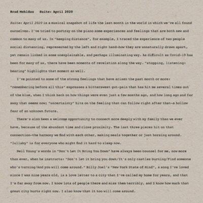 Brad Mehldau ブラッドメルドー / Suite: April 2020