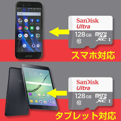 128GB microSDXCカード マイクロSD SanDisk サンディスク Ultra CLASS10 UHS-I R:80MB/s リテール SDSQUNS-128G-GN6MN